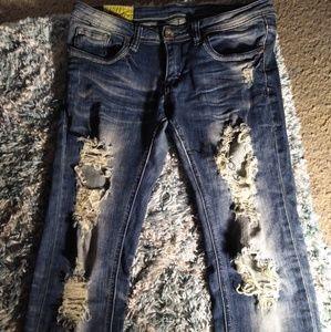 Women's Acid Wash Distressed Jeans// Size:9